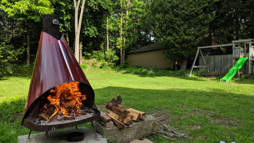 Urban Backyard Campsite with Fire pit