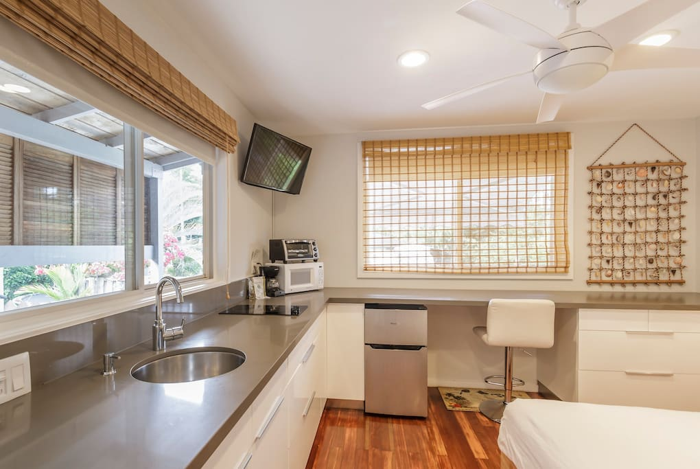 Kitchenette with Sink, Two Burners, Toaster Oven & Microwave