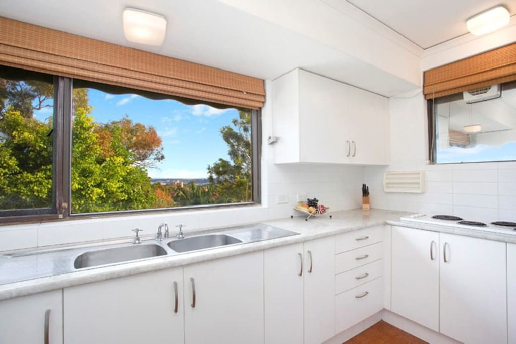 Separate, fully equipped kitchen, with a view too!