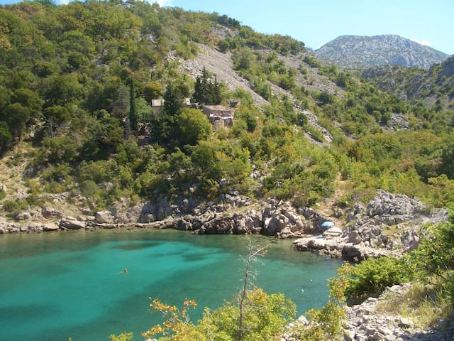 Apartment with a private beach and cove in Stinica