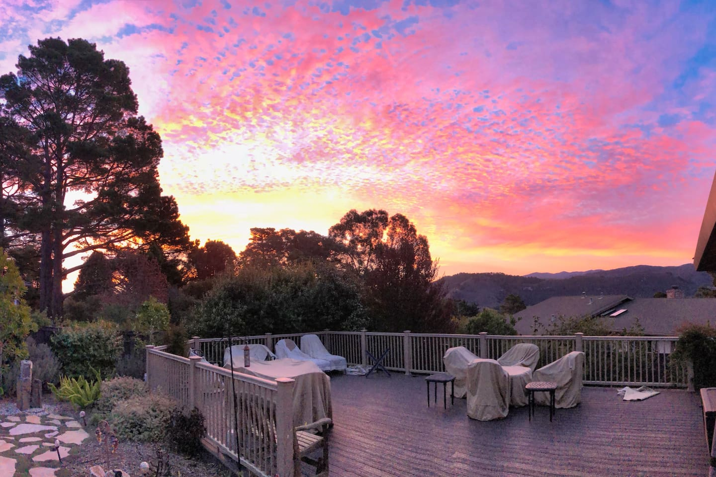 Massive deck with Carmel Valley views and outdoor seating for 20