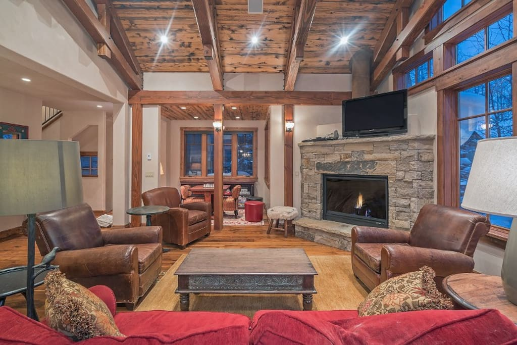 Gas fireplace and stone mantel, flat screen television