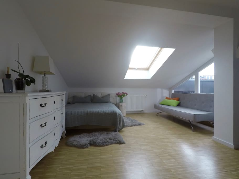 Spacious Guest Room: Double Bed (160x200) and BoConcept Sleeping Couch (140x200)