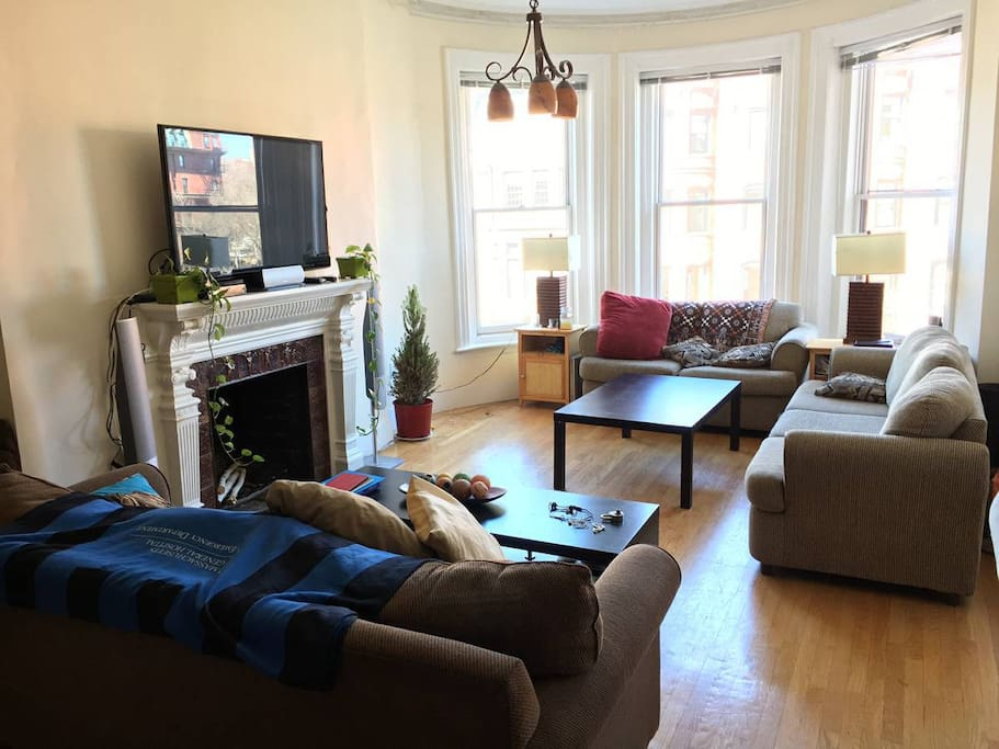 Livingroom overlooking Newbury St.  (additional furniture and decorations not included)