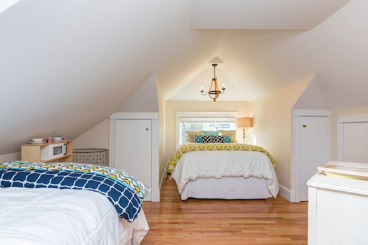 Large BR features a QUEEN bed, a two TWIN beds and high-quality inflatable mattresses.  2 secret hideaway closets for kids are all the rage!