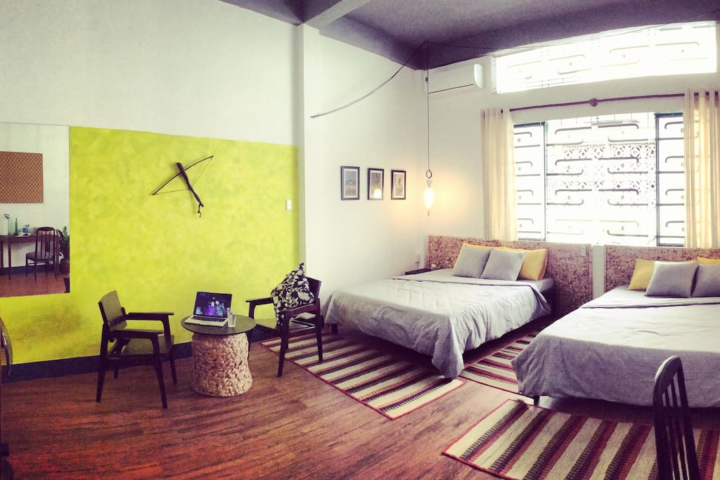 Stylish bedroom that can accommodate up to 4 people. The room is very new. It is in a lovely restored old house, so it's spacious, unlike other houses in HCMC.