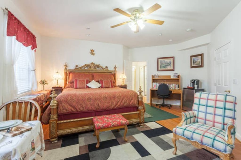 Your room has commanding views of SLO and features a king size bed, dining table, mini library, coffee maker, and cooler.