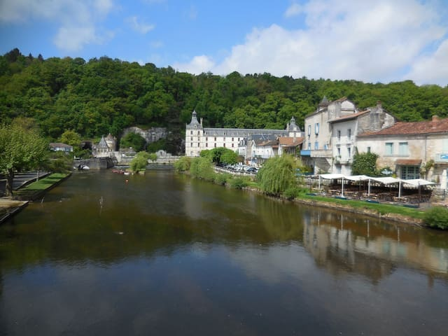 "Over the border into Dordogne and just a 35 minute drive is Brantome, ""The Venice of The Perigord"".  This has been listed as one of the most beautiful places to visit.  Friday mornings feature the weekly market."