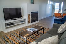 The Apartment has a gas fireplace, flat-screen TV with DISH network and a DVD player. Some DVD movies are provided, including movies filmed at the Lighthouse.