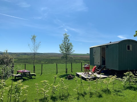 Lovely En-suite Shepherds Hut with Stunning Views