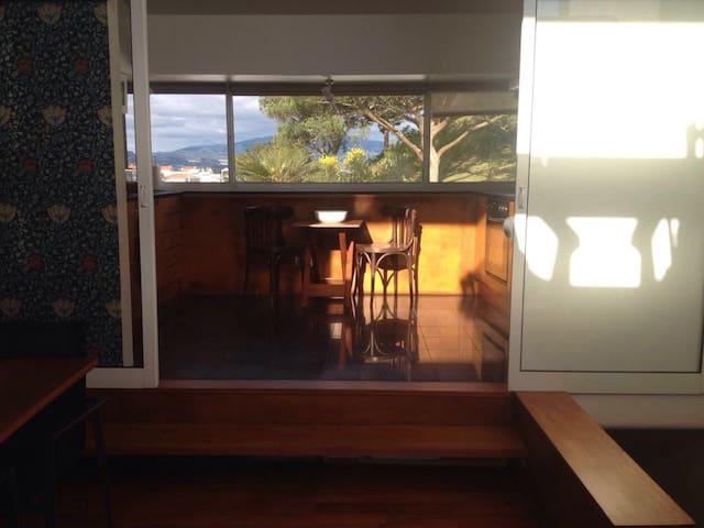 Sunny, design house near viewpoint