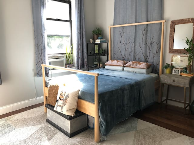 Great energy, XL,clean, plants, comfortable bed,