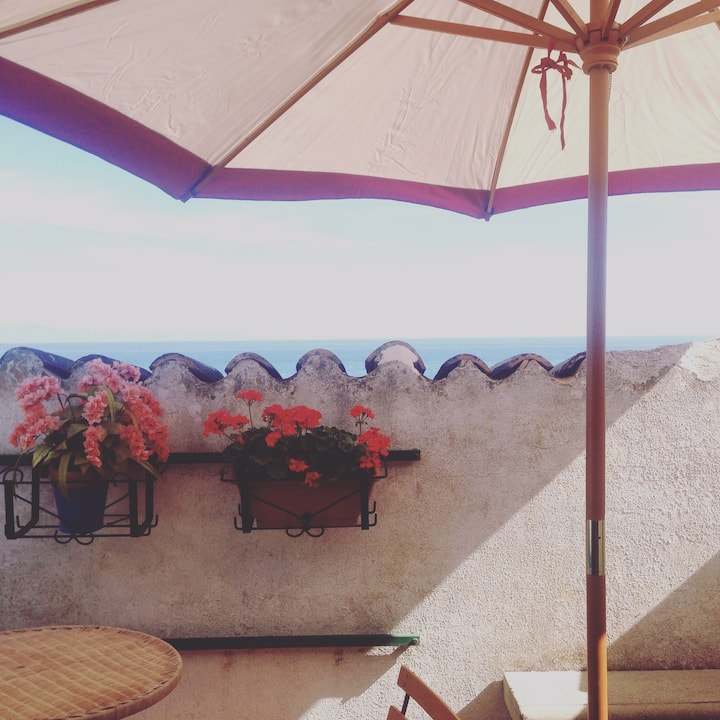 Panoramica mansarda con terrazzo sul mare