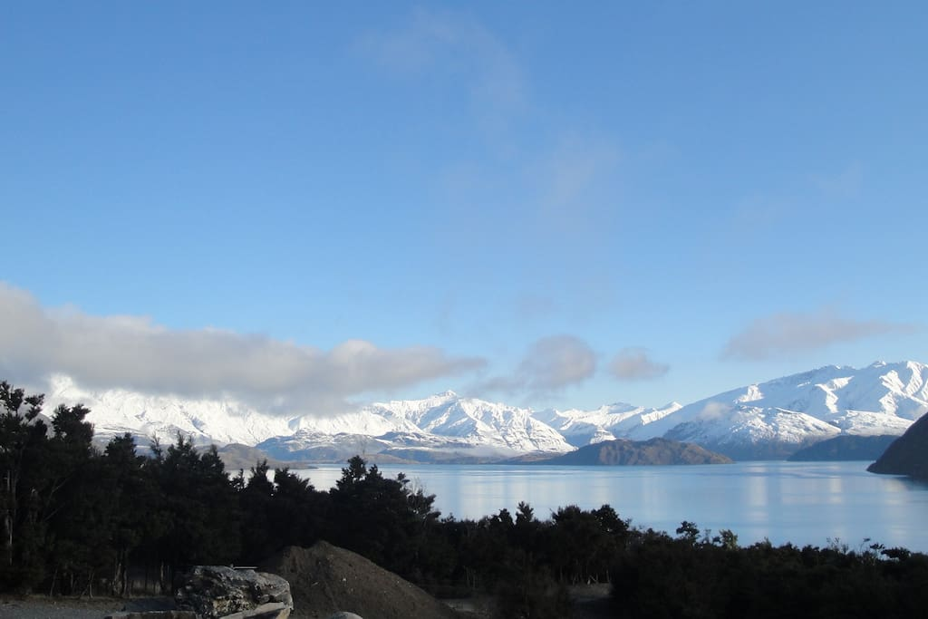 View of Lake Wanaka and Southern Alps from House