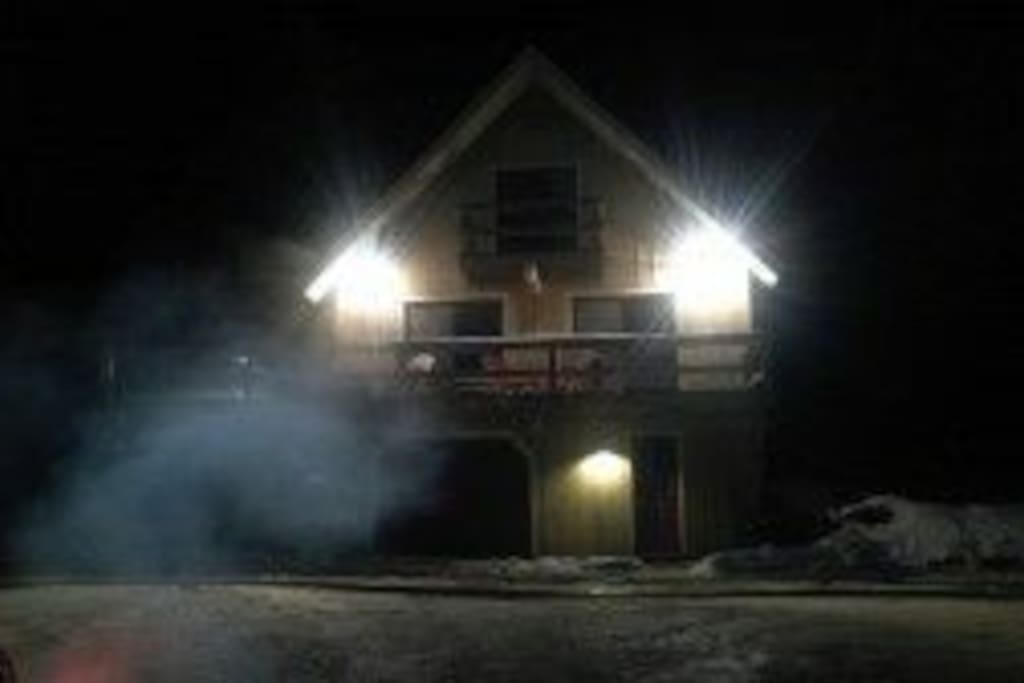 View of house on a winters night