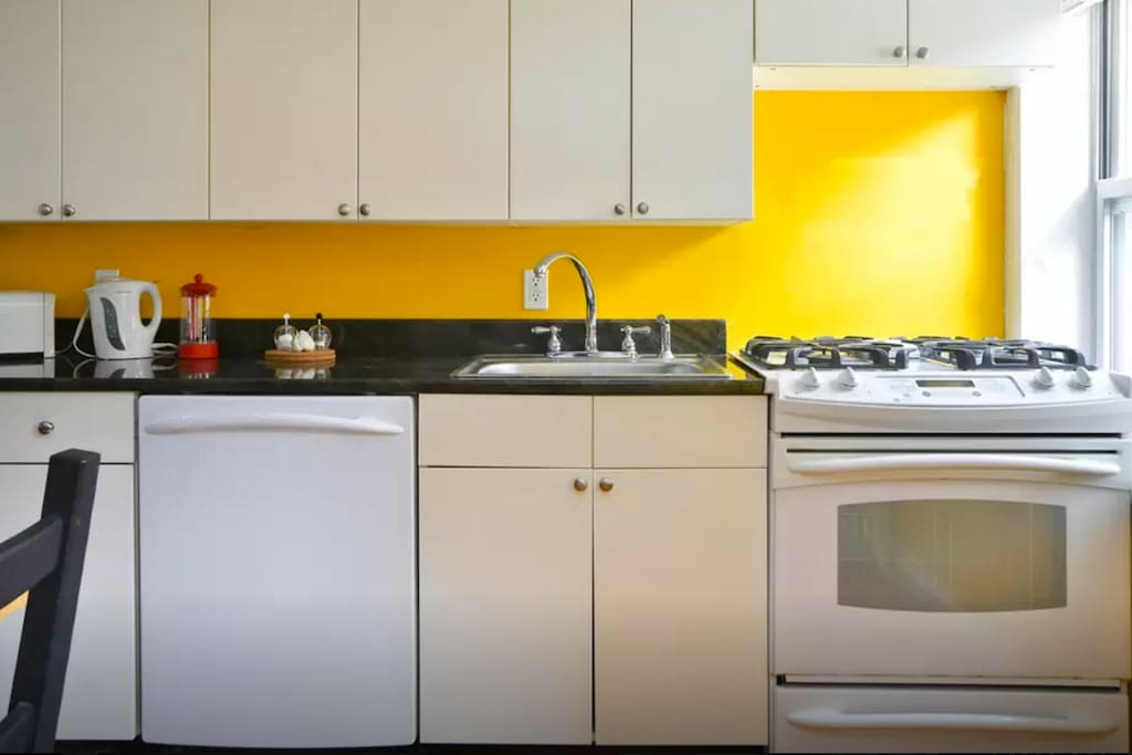 Granite countertops with dishwasher and stove