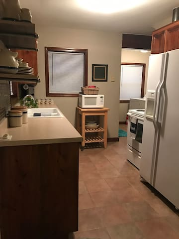 The fully equipped kitchen will meet all your needs during your stay. Enjoy teas and gourmet coffee with your complimentary morning pastries. There is also a full size washer/dryer set for you to use during your visit.