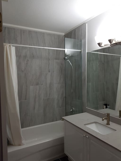 Newly renovated bathroom for a hot relaxing shower