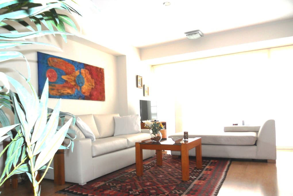 Bright living room with ocean view