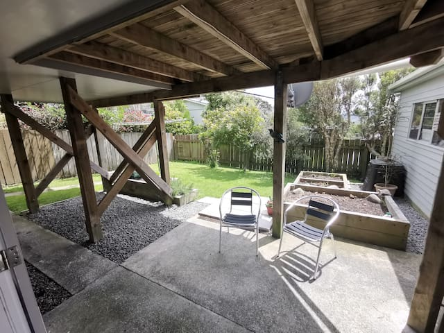 Private outdoor area. Yours to kick back and relax. The garden is fully fenced if you are staying with your four legged friends.