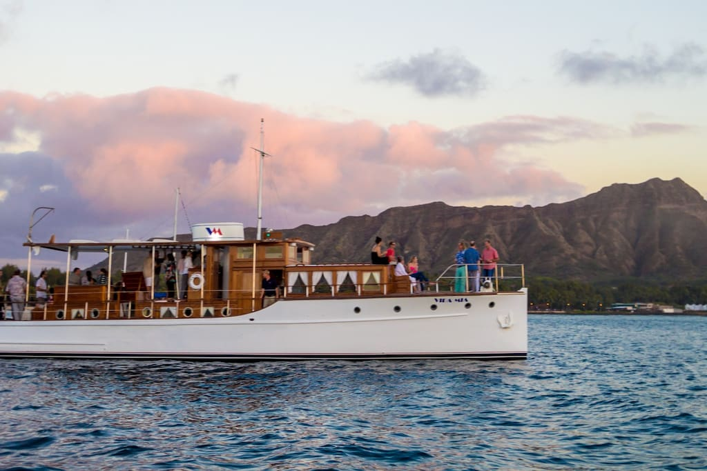The Vida Mia is moored with a Diamond Head view