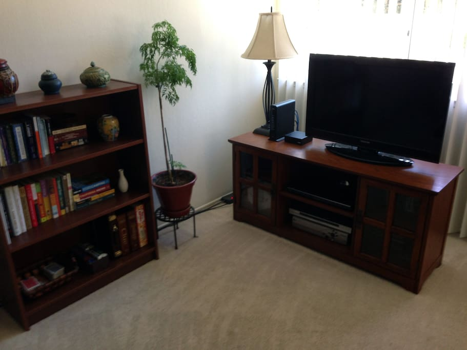 Wifi Internet access, HDTV, Blu-ray player, Roku (Netflix), books and games