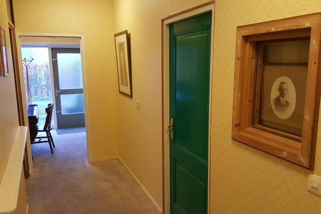 Hal en groene deur naar slaapkamer / hallway and green door to bedroom