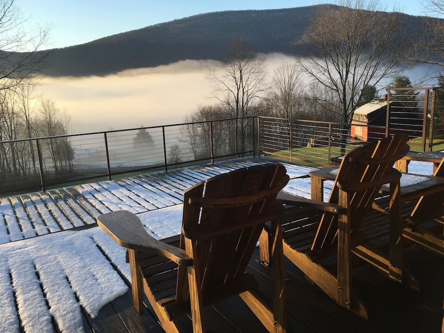 Taken May 1, 2018 morning view of fog over valley. Front deck view.