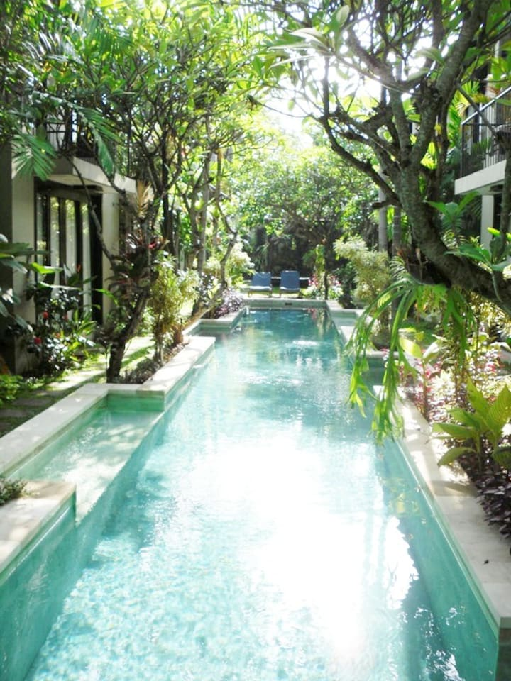 The lovely  pool  right in front of your garden door