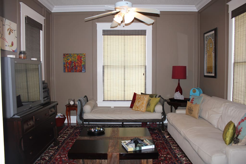 upstairs living area, sleeper sofa and a twin mattress