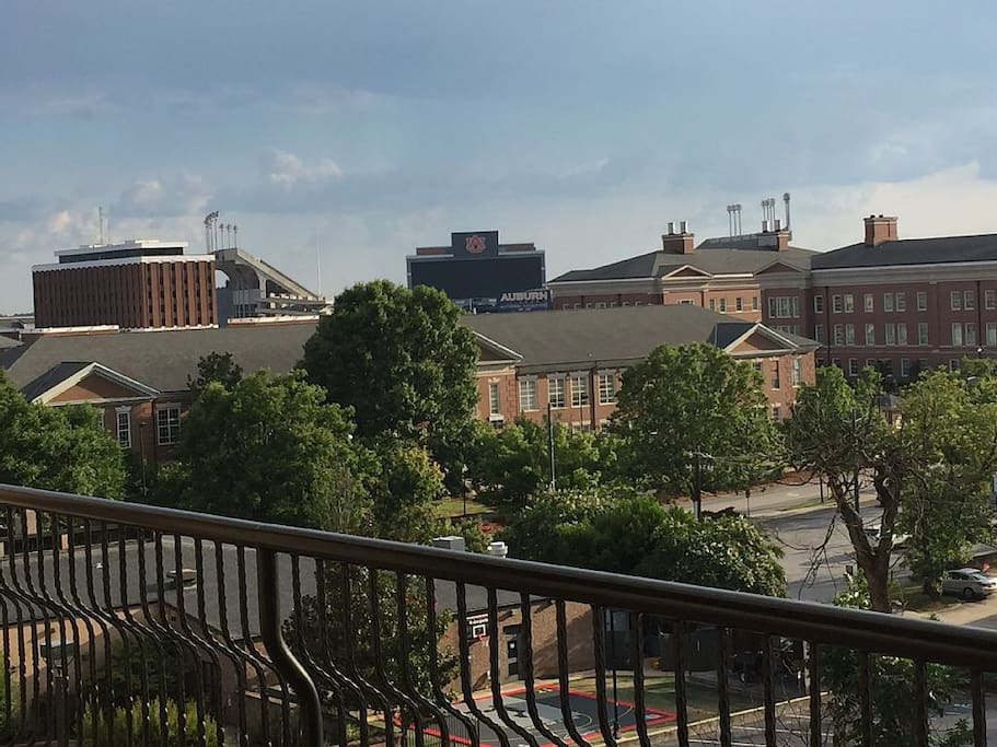 View of Auburn Campus and Jordan Hare Stadium and Video Board from penthouse terrace