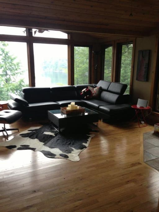 Open Concept Family Room with floor to  ceiling windows