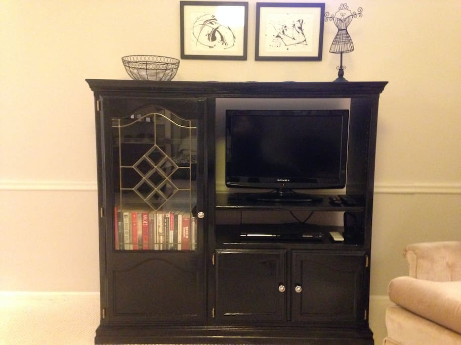 Entertainment center with streaming device, DVD, and books.