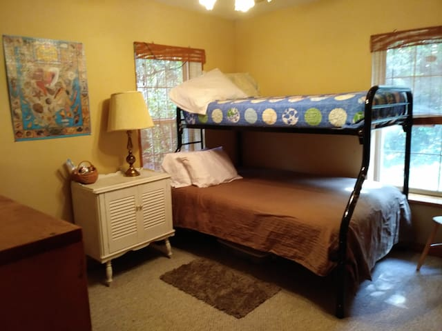Bottom bunk is a full, top bunk is a twin.