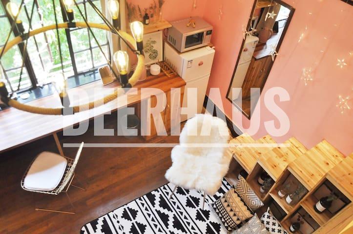 DEERHAUSx马卡龙——暖色系网红屋:法式洋房超大开窗陕西南路地铁站1/10/12号线步行5分钟