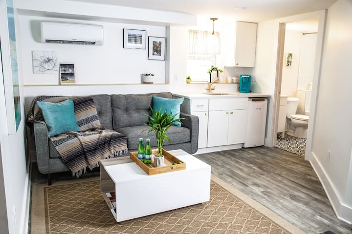 Relax and make this cozy space your home away from home. It's all yours. We make sure you've always got a freshly laundered blanket. We even disinfect the doorknobs and remotes. Clean as we would want it. Photography by Stephanie Hudson Photo