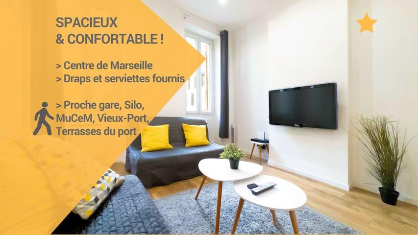 ★Appartement confortable MuCeM, Vieux-Port, Silo !