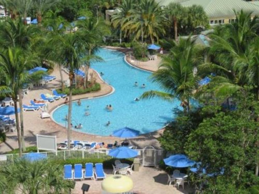Resort pool area view