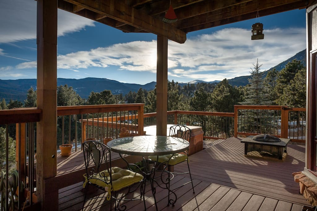 Enjoy a glorious view of the mountains while enjoying breakfast on your deck