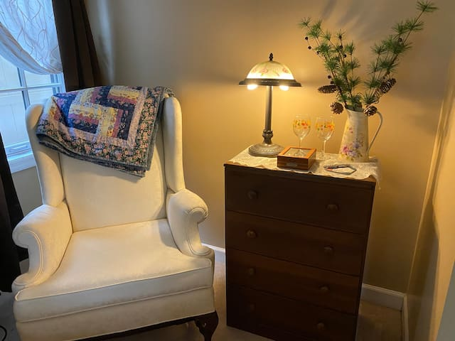"""The queen bedroom queen chair if you enjoy reading or using your """"phone"""""""