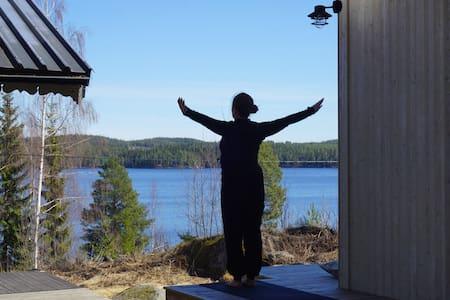 Lakeside Lodge and sauna with panoramic view