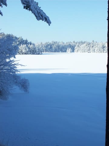 Set your ice fishing traps outside and cross country ski or snow shoe around the lake!