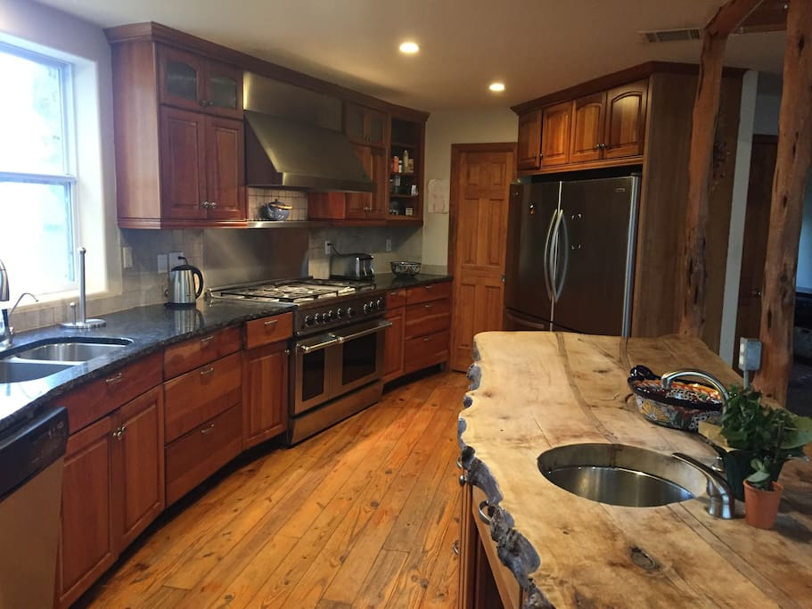Kitchen with granite counters, 8 foot island, plenty of room for multiple cooks