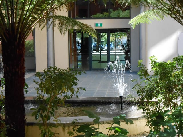 internal courtyard behind security tag controlled entrance