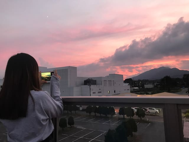 Mt.Fuji View Living and Kitchen, Rooftop/Dorm DBL