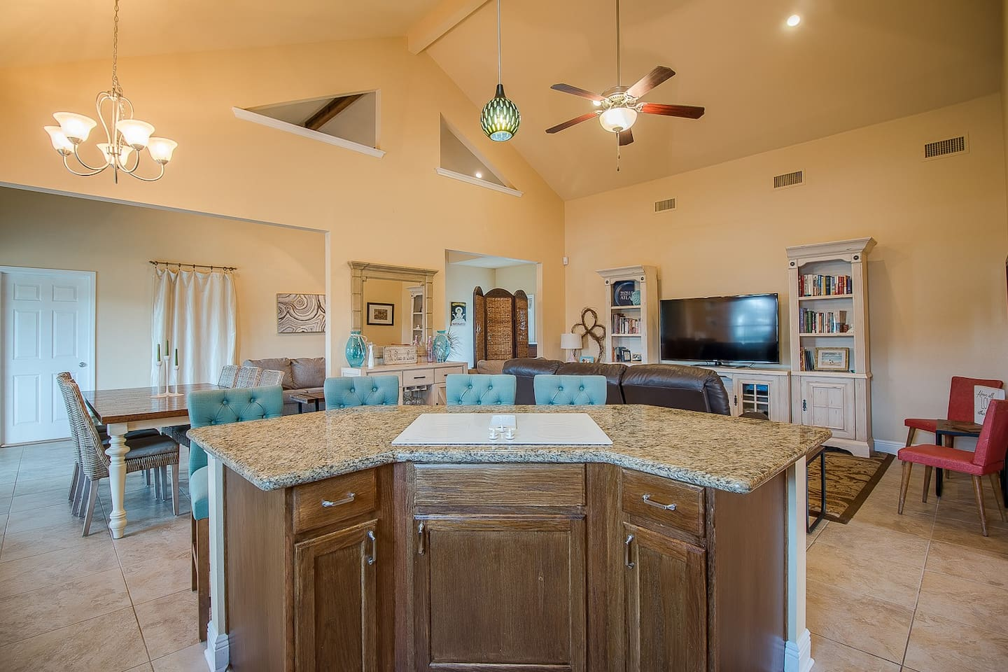 Our beach house is perfect for large groups as it provides ample space to enjoy your time together while being steps to the beach. Our fully stocked kitchen allows you to socialize while making fabulous meals you can enjoy on the gulf facing deck!