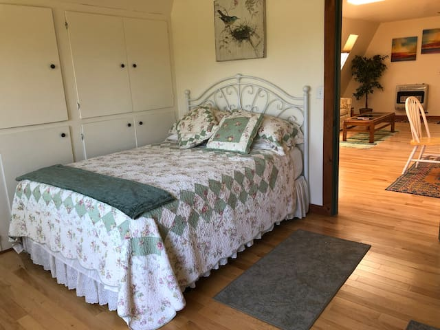 Queen sized bed ( Sealy mattress) with extra comforter and sheets in cabinets. Door is open to great room but can be closed and locked. Six pillows - with quality bed pillows. You can see the pond from your bed! Ceiling fan with lights on ceiling.