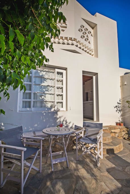 Enjoy the garden view from the private veranda of the apartment.