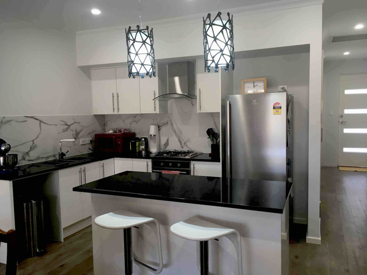 Kitchen has stainless steel appliances, gas stove top, electric Euro oven, new fridge. Lovely quality granite bench tops and breakfast bar. Appliances include microwave sofa steam, Nespresso machine, kettle, cake mixer.