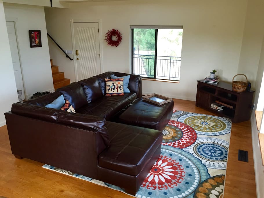 Bright living room with the most comfortable leather couch ever